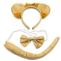 WSSROGY Lion Headband and Tail Lion Ears and Tail Set Lion Ears Headband