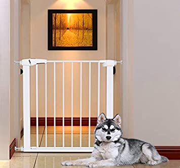 EAVSOW Safety Baby Gates Extra 29.5 -32.3 Wide and 30 Tall,Steel Pet Gate Pet Safety Gate,Pressure Mount,White