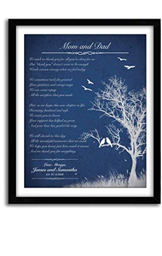 Personalized Christmas Thank You Gift for Parents Poem for Mom Dad Gift for In-laws from Bride and Groom, Custom (Unframed)