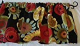 Valance Floral Pattern on Black Background Multi- Color Window Treatment Topper For Sale