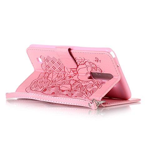 Funda LG Stylo 2, Carcasa Plegable para LG Stylo 2, Funda de piel LG Stylo 2,Lifetrut Sólido Shiny Sparkle libro de estilo funda de cuero con ranura para tarjetas de cierre magnético soporte funda de  E204-Rose Flor en rosa