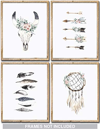 Confetti Fox Boho Nursery Wall Decor Art - 8x10 Unframed Set of 4 Prints - Bohemian Woodland Chic Baby Girl Watercolor Artwork Gift Posters - Cow Skull Dreamcatcher Arrows Feathers -