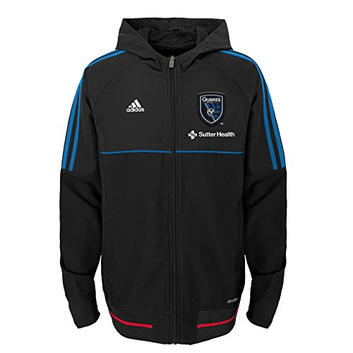 fan products of MLS San Jose Earthquakes Boys -Travel Jacket, Black, Large (14-16)
