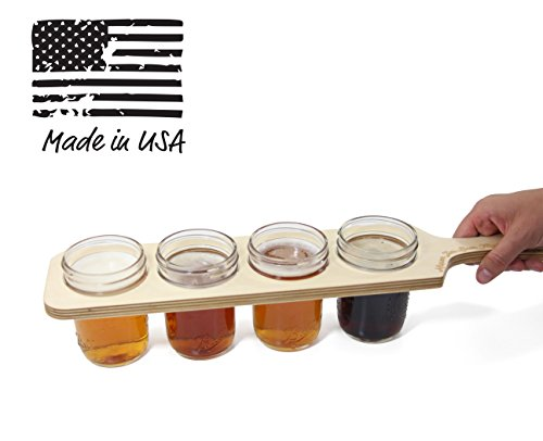 Mason Jar Beer Flight Paddle - Holds 4 Jars (8oz Regular Mouth) - The Perfect Tasting Set for Your Beer Sampler - Easy to Carry Beer Server (Jars & Beer Not Included)