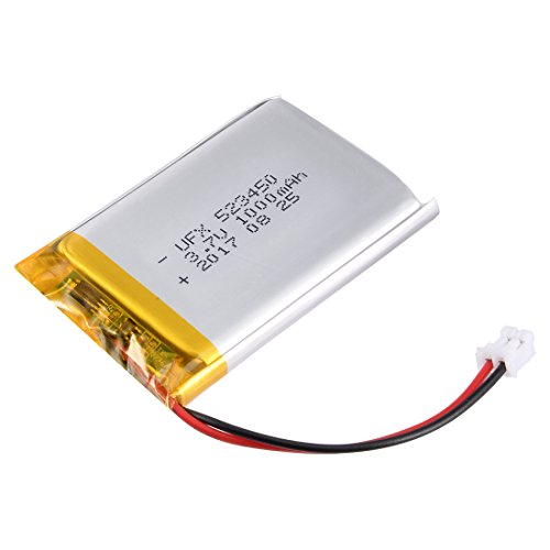 - uxcell Power Supply DC 3.7V 1000mAh 2P PH 2.0mm Pitch Li-ion Rechargeable Lithium Polymer Li-Po Battery