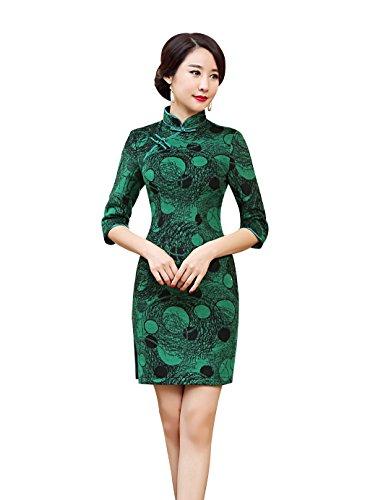 Courte Soirée Mariage Col Un Elégant Vert Chinoise Femme Qipao Robe Pour Haut Acvip Cheongsam Avec wYCIZYq