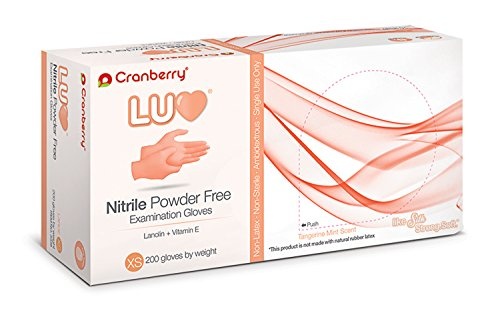 CR3335 Cranberry Luv Series 3330 Nitrile Powder Free Examination Glove, Tangerine, X-Small (Pack of 200)