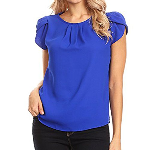 HebeTop Women's Casual Round Neck Basic Pleated Top Cap Sleeve Curved Keyhole Back Blouse Blue