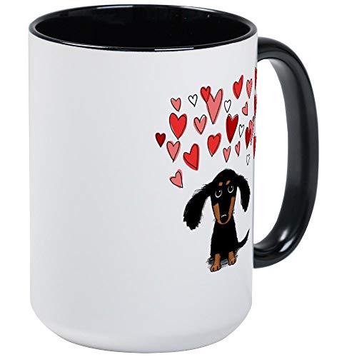 Cute Dachshund Mug - 11oz RINGER Coffee Mug, Ceramic 11oz Coffee - Dachshund Ringer