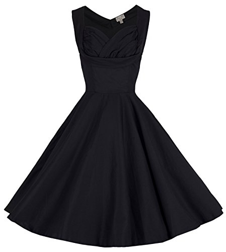 Lindy-Bop-Ophelia-Vintage-1950s-Prom-Swing-Dress-6XL-Black
