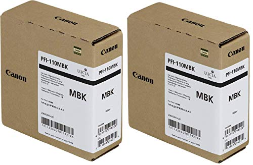 Canon 2 Pack PFI-110 160ml Matte Black Pigment Ink Tank for imagePROGRAF TX-2000, TX-3000 and TX-4000 Printers