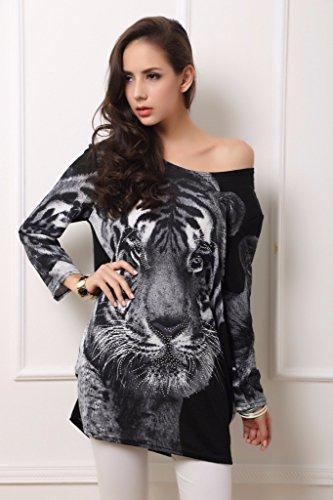 QIYUN.Z ?Tete De Tigre Imprimer Robes Chemise Tres Sexy En Cachemire a Manches Longues Millesime Plus La Taille