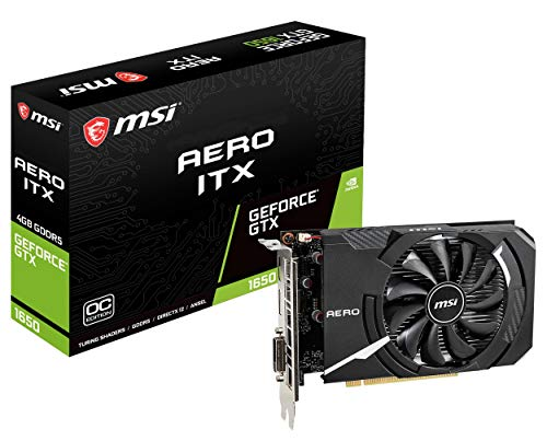 MSI Gaming GeForce GTX 1650 128-Bit HDMI/DP 4GB GDRR5 HDCP Support DirectX 12 Single Fan VR Ready OC Graphics Card (GTX 1650 Aero ITX 4G OC)
