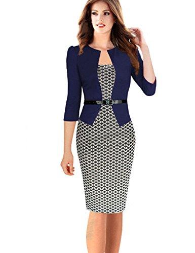 Minetom Damen Hahnentritt Elegant Kleider Business Kleider ...