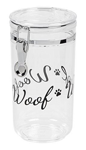 IRIS Acrylic Woof Pet Treat Jar, Black
