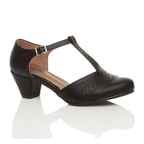 Shoes T Court Black Women Size Bar Matte Pumps Ajvani Mid Heel Cut Out 80XPa