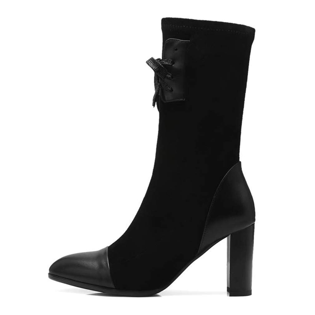 Black AVENBER Women Suede Mid Calf Boots Pointed Toe Zip Lace Up Fashion Square High Heels Comfortable and Warm Autumn Winter Adult shoes