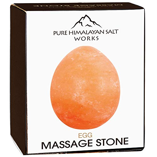 (Pure Himalayan Salt Works Egg Massage Stone, Pink Crystal Hand-Carved Stone for Massage Therapy, Deodorant and Salt and Sugar Scrubs, 2.5