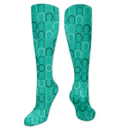 Graduated Football Socks Athletic Tube Stockings - Horseshoes Teal Fabric (8193) Mid-Calf - Athletic Horseshoes