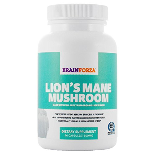Brain Forza Organic Lion's Mane Mushroom for Memory and Nerve Support, Pack of 90 Capsules