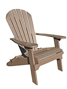 Phat Tommy Recycled Poly Resin Folding Adirondack Chair – Durable and Eco-Friendly Patio Furniture Armchair, Weatherwood