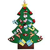 3.2 x 2.3 FT Felt Wall Hanging Christmas Tree with Handmade Ornaments Xmas Decoration - Children Santa Hat Included