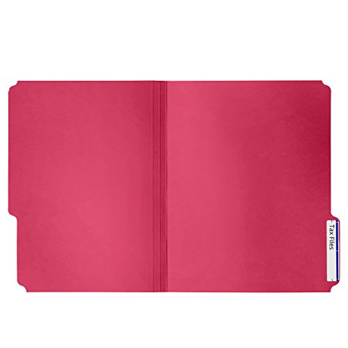File Folder, 1/3 Cut Tab, Letter Size, Red, Great for organizing and easily file storage, 100 Per Box Photo #2