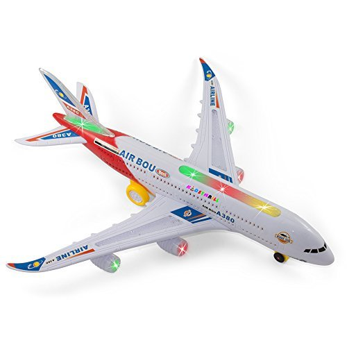 Bump And Go Electric Air Bou A380 Kids Action Airplane - Kidsthrill Big Model Plane With Attractive Lights And Sounds – Changes Direction On Contact – Best For Kids Age 3 And Up. (Colors May (How Long Is A Light Year)