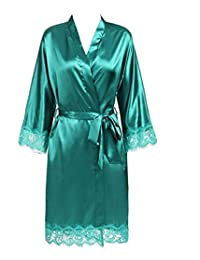 Lace Patchwork Bride Bridesmaids Robe Sexy Lingerie Women Silk Wedding Party Kimono Robes Nightgown Sleepwear