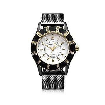 Bella, relojes para mujer reloj elegante reloj de moda cuarzo resistente al agua acero inoxidable banda negro azul, negro: Amazon.es: Deportes y aire libre