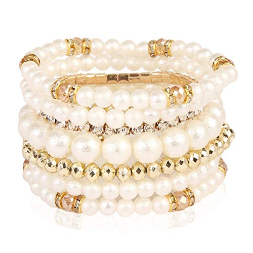 RIAH FASHION Bridal Acrylic Faux Pearl Stackable Stretch Bracelets - Layering Bead Multi Strand Bride Wedding Statement Bangles (Pearl Crystal - Gold) ()