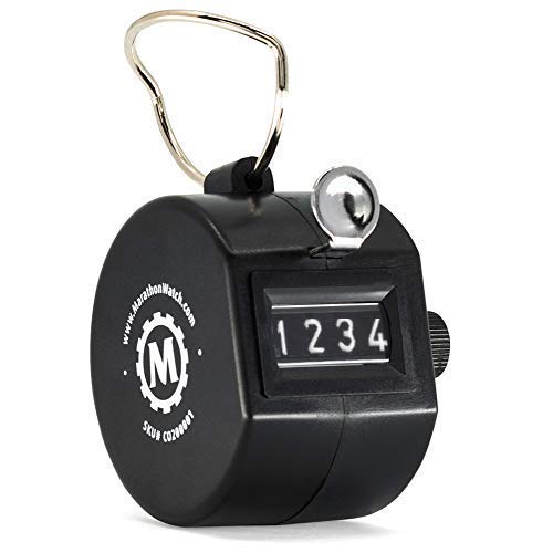 (MARATHON CO200001 Handheld Black Tally Counter with Finger Ring for Sports, Warehouse, Laboratories, Factories and Offices. Guaranteed for 1 Million Clicks)