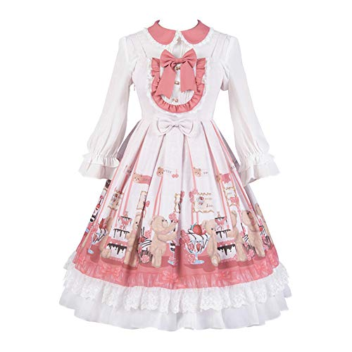 Yingluofu Lolita Sweet Classic Lolita Dress Cosplay Party Daily Office 「Little Bear Dessert」Custom Jumper Skirt Suit for Women (XXS, Blouse) Pink