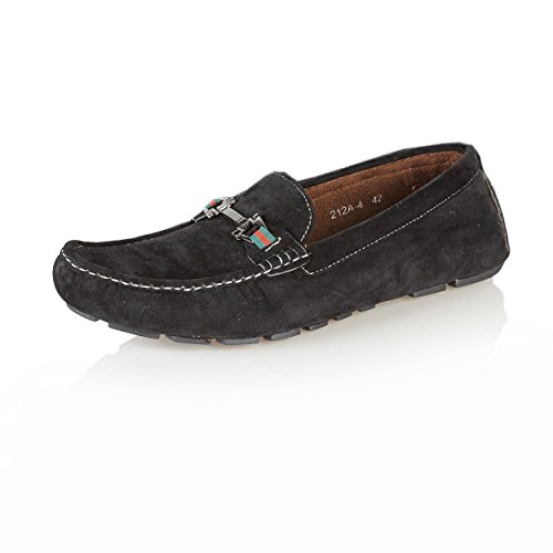 NEW MENS CASUAL DESIGNER INSPIRED LOAFERS MOCCASINS SLIP-ON SHOES Black