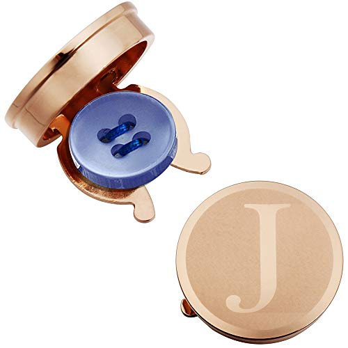 HAWSON Rose Gold Letter Button Cover Cufflinks for Men Initial and Impressing Alphabet A-Z - Best Choice for Weddling Gift J (Button Mens Cufflinks)
