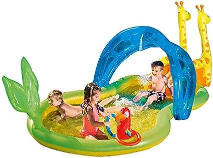 ZDYG Centro de Juegos acuáticos, con Piscina de rociado con rociador de Agua. Piscina Inflable, Centro de Actividades para el Verano al Aire Libre -338x167x129cm