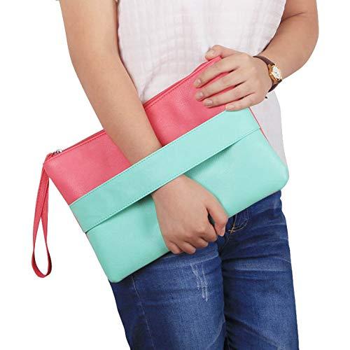 Moonnight Store Candy Color Leather Women Bag Day Clutches Handbag Bolsa Feminina Wristlets Bags Ladies Casual Patchwork Wristlet Clutch (Green - (30cm<Max Length<50cm))