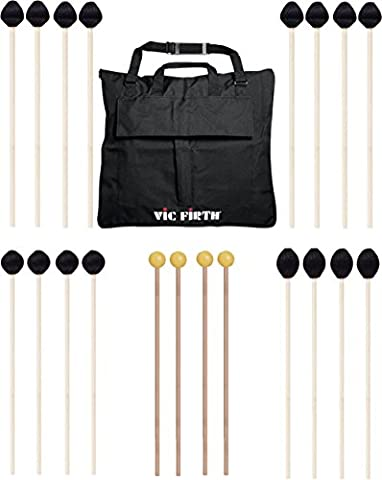 Vic Firth Keyboard Mallet 10-Pack w/ Free Mallet Bag M182(2), M183(2), M187(4) - Keyboard Mallet Bag