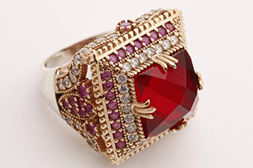 Turkish Handmade Jewelry Square Shape Ruby and Round Cut Topaz 925 Sterling Silver Ring Size Option