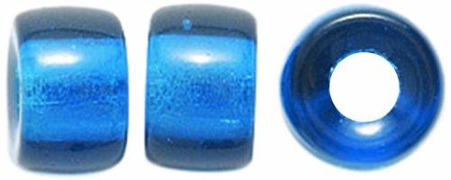 Preciosa Ornela Traditional Czech Glass Crow Roller 50-Piece Beads, 9mm, Transparent Capri Blue (Roller Crow)