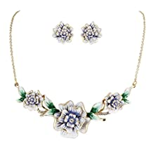 Ever Faith 3 Flower Austrian Crystal Necklace Earrings Set Enamel