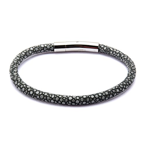 Men's Grey Stingray Leather Bracelet With Magnetic Clasp