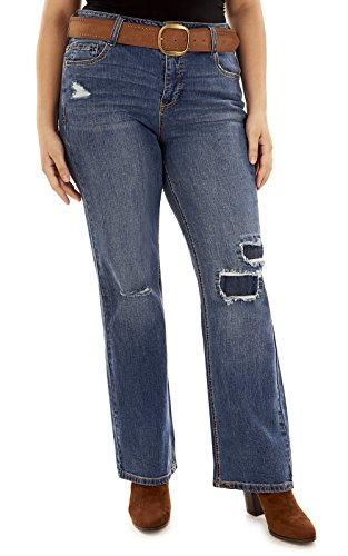 Angels Plus Size Belted Curvy Bootcut Jeans In Yale Size:18W