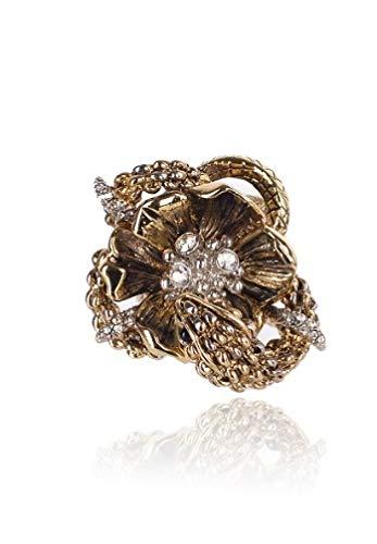 (Roberto Cavalli Womens Gold Floral Swarovski Crystal Bud Ring~RTL $895)