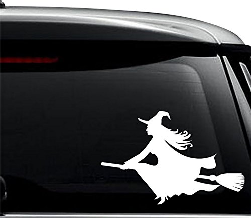 Halloween Witch Broomstick Decal Sticker For Use On Laptop, Helmet, Car, Truck, Motorcycle, Windows, Bumper, Wall, and Decor Size- [6 inch] / [15 cm] Wide / Color- Gloss Black]()