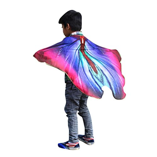 Price comparison product image 2017 Halloween Child Kids Boys Girls Bohemian Butterfly Print Shawl Cape Scarf Fairy Poncho Wrap Costume Accessory (100X73CM,  A7)