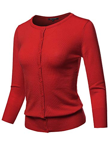 Solid Crew Neck Button Down 3/4 Sleeves Knit Cardigan Red ()