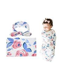 Bigbuyu Newborn Baby Girls Swaddling Receiving Blanket and Headband Set Baby Shower Newborn Gift Blue