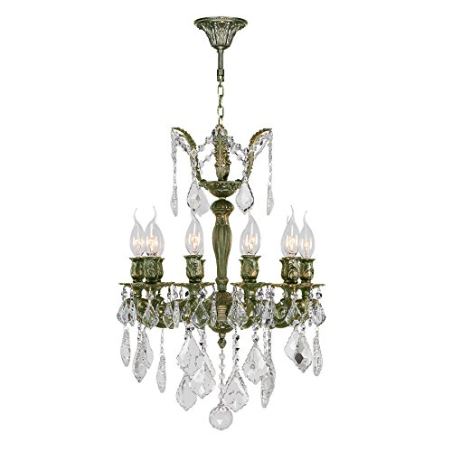 (Worldwide Lighting Versailles Collection 10 Light Antique Bronze Finish and Clear Crystal Chandelier 17
