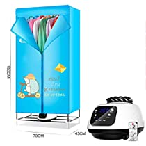 Drying Racks ZXW@ Portable Folding Cloth Dryer 900W Electric Large Capacity Fast Drying Multifunctional Wardrobe with Heater, All Accessories (Size : Remote Control)